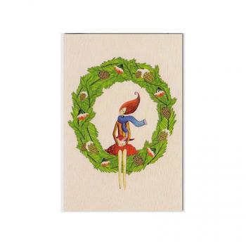 Carte de vœux en bois Couronne