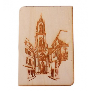 Carte postale en bois - Sélestat Église Saint Georges