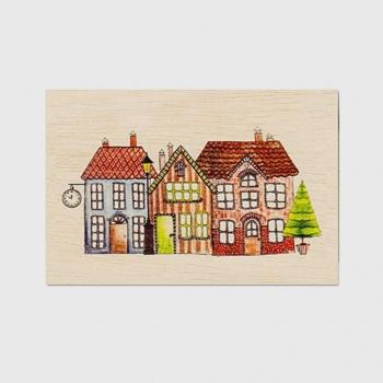 Carte de vœux fin d'année en bois Village en fête