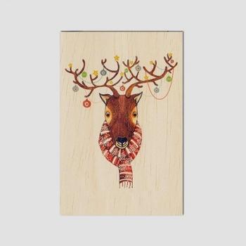 Carte de vœux de fin d'année en bois Renne
