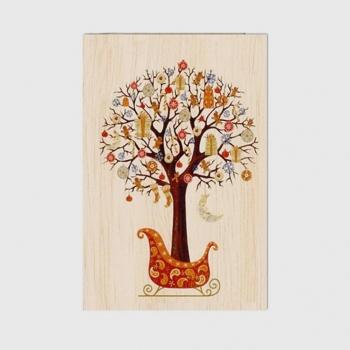 Carte de vœux de Bonne année en bois Arbre de Voeux