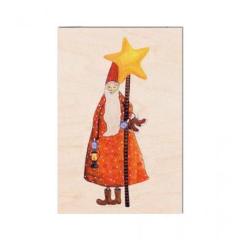 Carte de vœux en bois Lutin