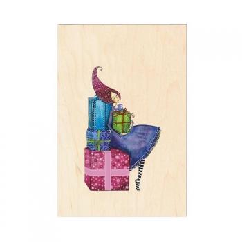 Carte de vœux de fin d'année en bois Rêve de cadeaux