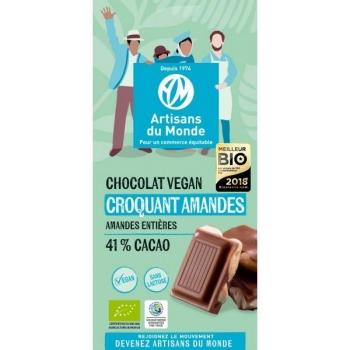 Chocolat bio vegan croquant amandes - 100g
