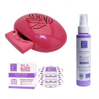 Coffret BONNE NUIT (1 Diffuseur IRIS Pink + 1 recharge Sleep Box+ 1 Spray Sommeil Réparateur)- E2 Essential Elements