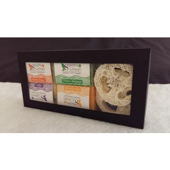 BOX 4 savons + 2 luffas