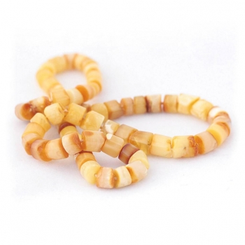 Collier en ambre jaune perles cylindriques pour femme
