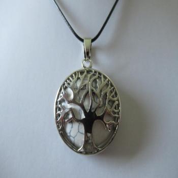 Collier arbre de vie et Howlite blanche
