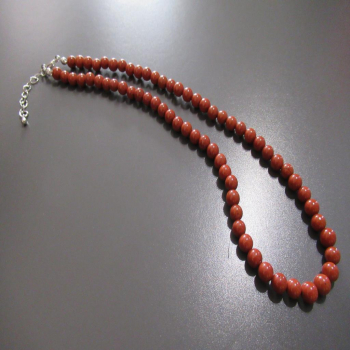Collier en pierre de jaspe rouge 6 mm