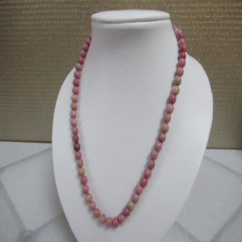 Collier en pierre de rhodonite