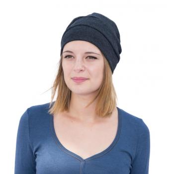 Bonnet femme Recto/verso en pure laine mérinos gris anthracite