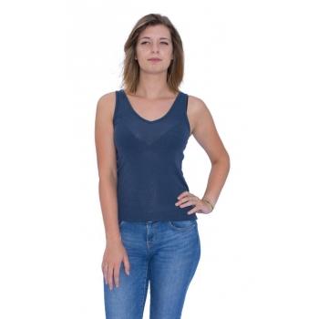 DEBARDEUR femme en pure laine Mérinos COOLMAN Bleu jean