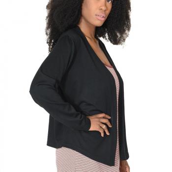 Gilet femme asymétrique encolure bande kamo, noir, pure laine mérinos coolman