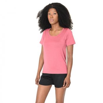 T-shirt femme manches courtes col arrondi, rose cassis en pure laine mérinos coolman
