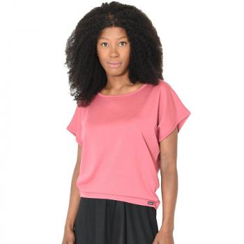T-shirt femme manches courtes tombantes merinos rose