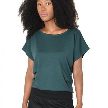 T-shirt femme manches courtes tombantes merinos vert fonce