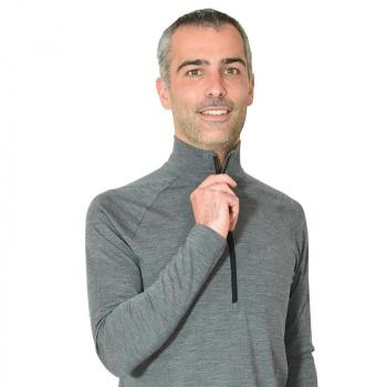 Zip unisexe gris pure laine mérinos COOLMAN