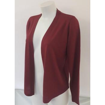 Gilet femme asymétrique encolure bande kamo, rouge brique, pure laine mérinos coolman