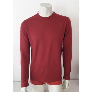 T-shirt homme manches longues col O rouge brique en pure laine mérinos coolman