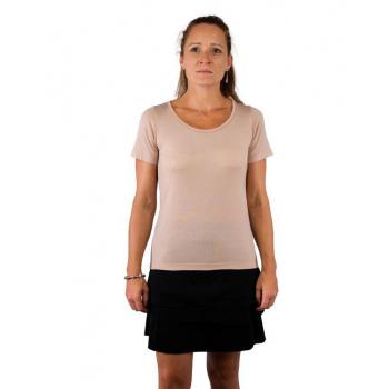 T-shirt femme manches courtes col O BEIGE ROSE en pure laine mérinos COOLMAN