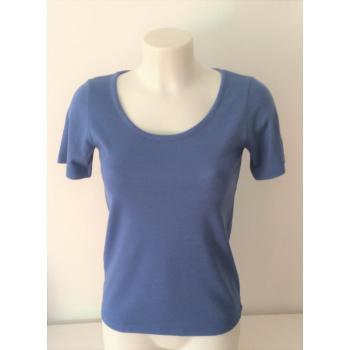 T-shirt femme manches courtes col arrondi, bleu d'été en pure laine mérinos coolman