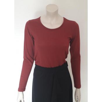 T-shirt femme manches longues col O rouge brique pure laine merinos