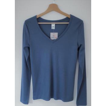 T-shirt femme manches longues col V bleu gris pure laine merinos