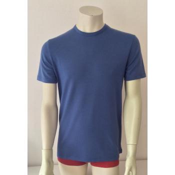 T-shirt homme manches courtes col O bleu d'été en pure laine mérinos coolman
