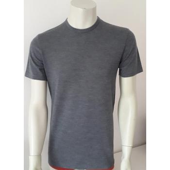 T-shirt homme manches courtes col O gris en pure laine mérinos coolman
