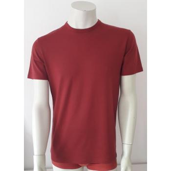 T-shirt homme manches courtes col O rouge brique en pure laine mérinos coolman