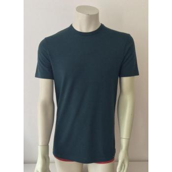 T-shirt homme manches courtes col O vert foncé en pure laine mérinos coolman