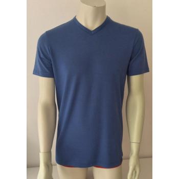 T-shirt homme manches courtes col V bleu d'été en pure laine mérinos coolman