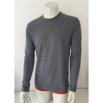T-shirt homme manches longues col O gris en pure laine mérinos coolman