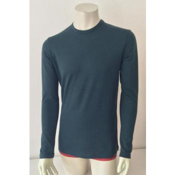 T-shirt homme manches longues col O vert foncé en pure laine mérinos coolman