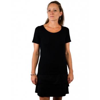 T-shirt femme manches courtes col arrondie, en pure laine mérinos NOIR