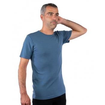 T-shirt homme manches courtes col o - bleu pure laine mérinos COOLMAN