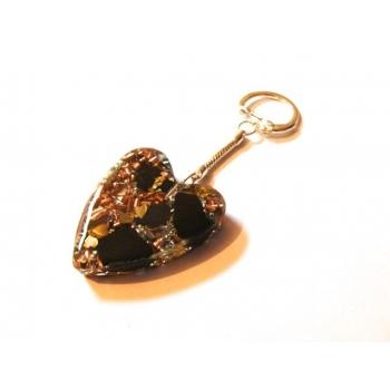 Coeur porte clefs shungite grand modèle doré