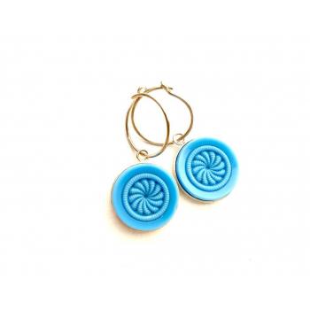 Créoles artisanales bleuets