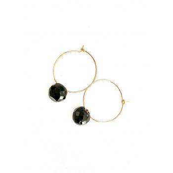 Créoles boules noires. Boucles d'oreilles artisanales en boutons anciens