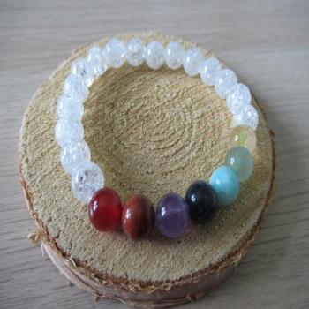 Bracelet en pierre de Cristal de roche 7 chakras