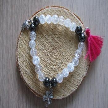 Bracelet en pierre de Cristal de roche et hématite
