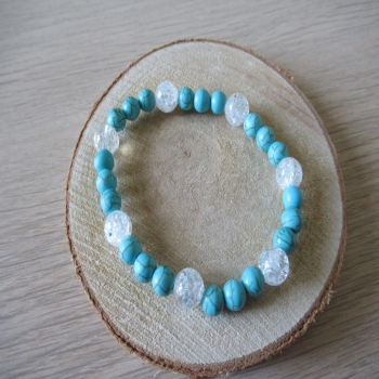 Bracelet en cristal de roche et howlite