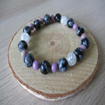 Bracelet en cristal de roche, obsidienne
