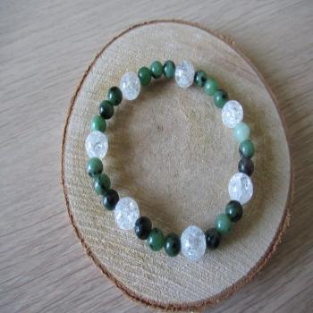 Bracelet en rubis zoisite et cristal de roche