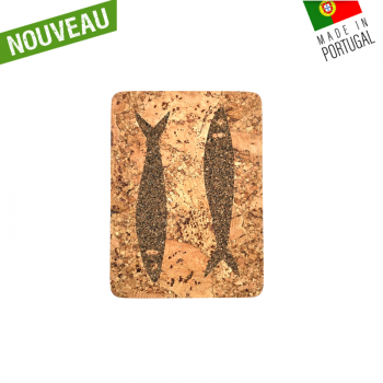 "Dessous de plat rectangle en liège naturel artisanal ""Sardine Naturel"""