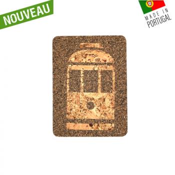"""Dessous de plat rectangle en liège naturel artisanal """"Tramway Foncé"""""""