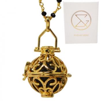 Collier diffuseur d'huiles essentielles - Pierre de lave avec cage Or avec chaîne perlée - Aromathérapie