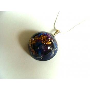 Demi lune pendentif lapis lazuli améthyste argenté