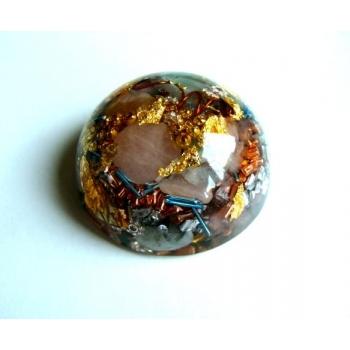 Demi sphère aigue marine/quartz rose