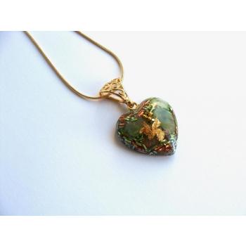 Pendentif orgonite coeur jade new